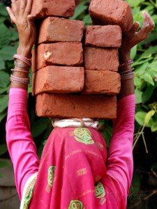 woman bricks